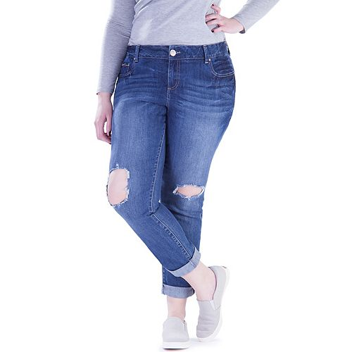 Juniors' Plus Size Amethyst Ripped Girlfriend Jeans