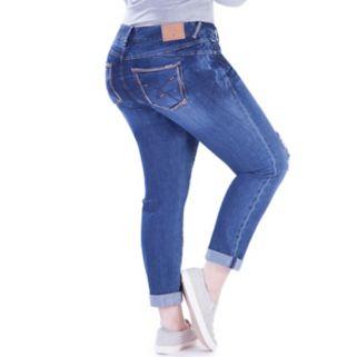 Juniors' Plus Size Amethyst Ripped Girlfriend Jeans
