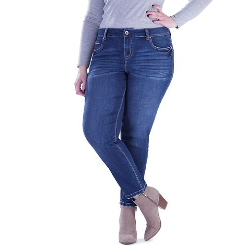 Juniors' Plus Size Amethyst High-Waist Skinny Jeans
