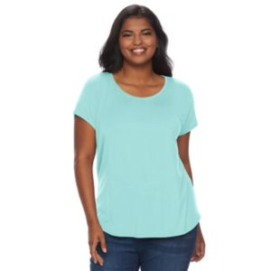 Juniors' Plus Size SO® Short Sleeve Scoopneck Tee