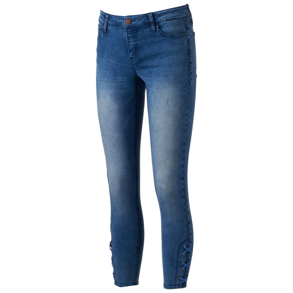 Juniors' Tinseltown Lace Up Ankle Skinny Jeans