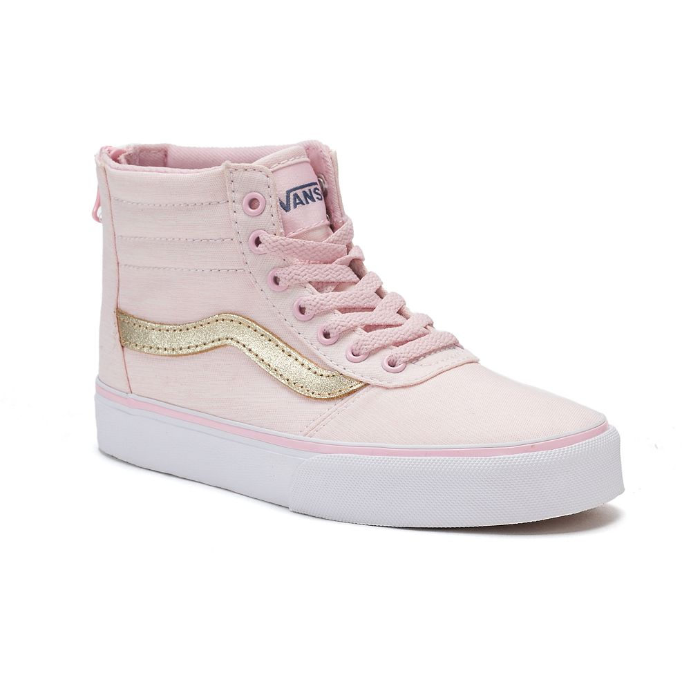 pink and white high top vans