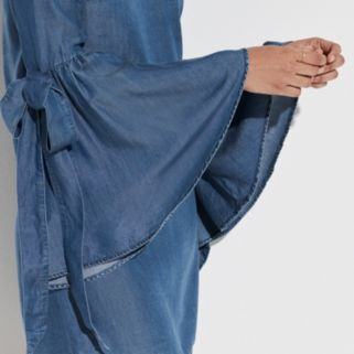k/lab Flare Sleeve Chambray Shift Dress