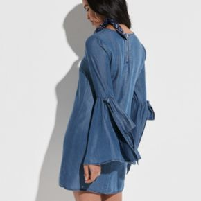 k/lab Flare Sleeve Chambray Shift Dress