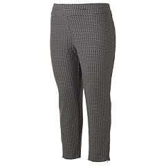 Juniors' Plus Size Joe B Checkered Zipper Ankle Pants