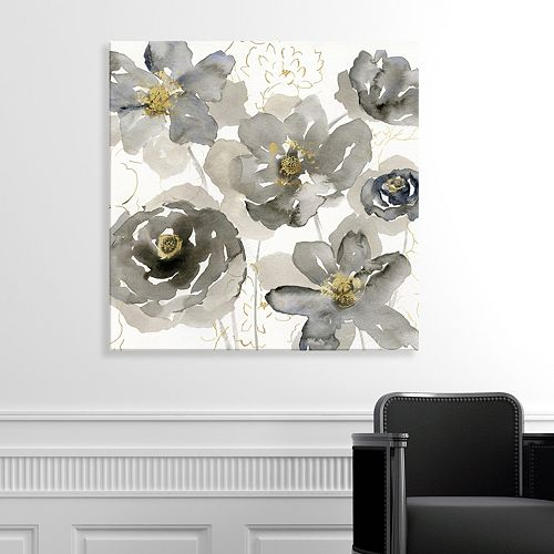 Artissimo Designs Gray Flowers Canvas Wall Art