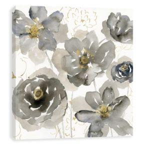 Artissimo Designs Gray Flowers Canvas Wall Art