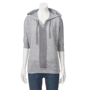 Women's French Laundry Hooded Marled Crochet Top
