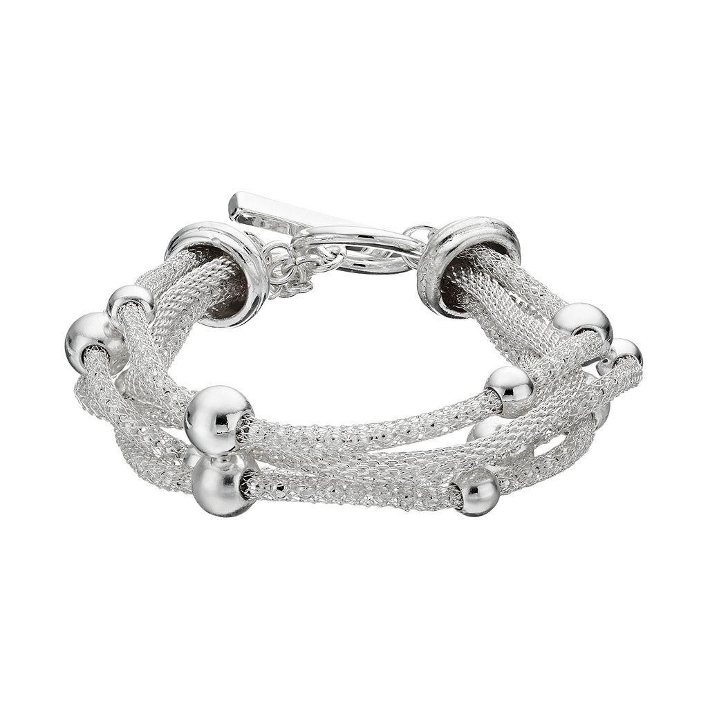 Dana Buchman Beaded Multi Strand Mesh Toggle Bracelet