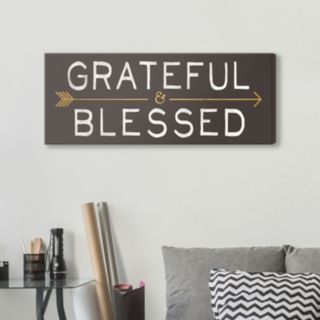 """Artissimo Designs """"Grateful & Blessed"""" Canvas Wall Art"""