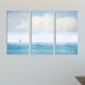 Artissimo Designs Lone Sailboat Canvas Wall Art 3-piece Set