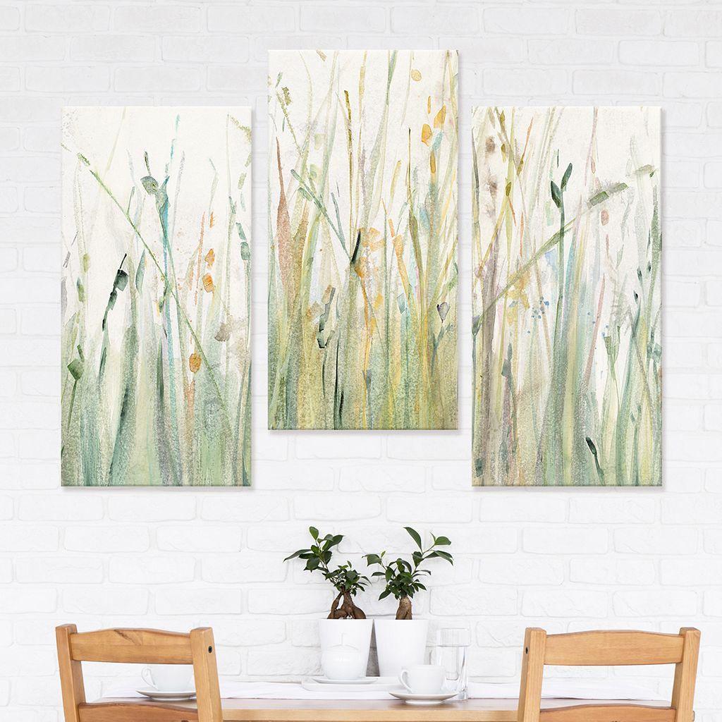Artissimo Designs Spring Grasses I Canvas Wall Art 3-piece Set