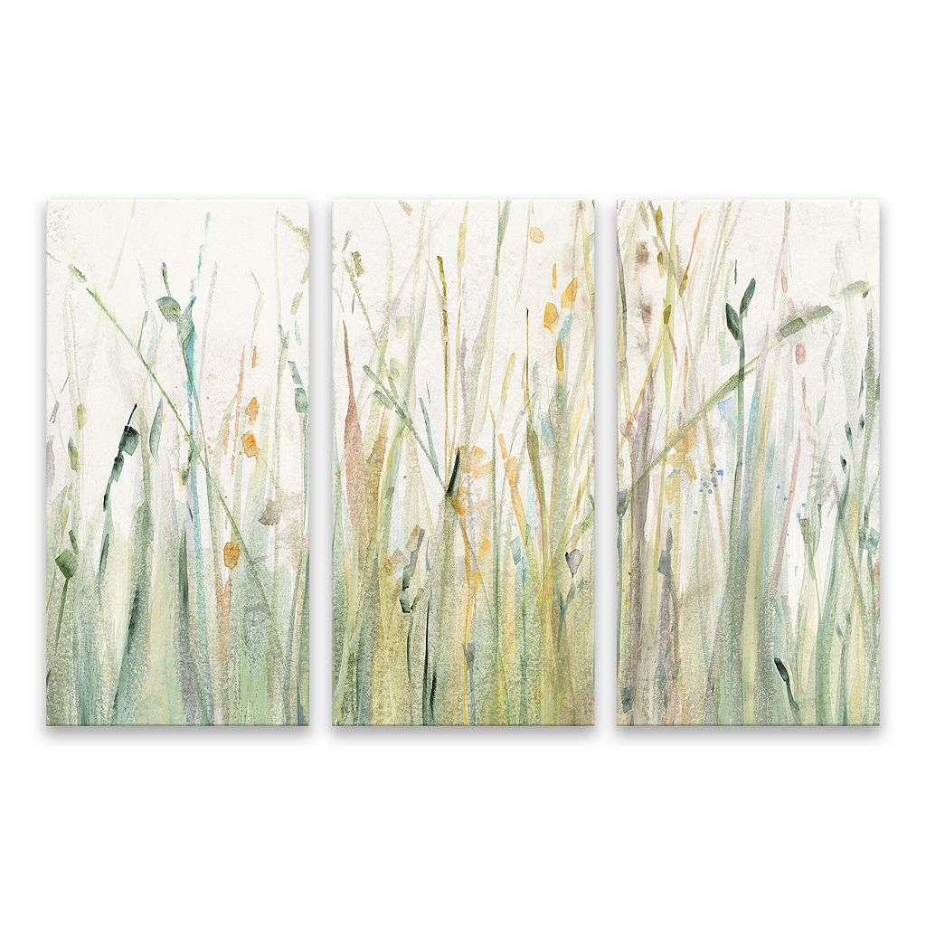 Artissimo Designs Spring Grasses I Canvas Wall Art 3-piece Set