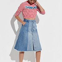 k/lab Button Front Jean Skirt