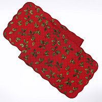 St. Nicholas Square® Quilted Holly Table Runner - 54