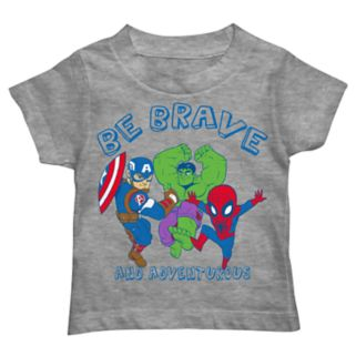 """Toddler Boy Captain America, Hulk & Spider-Man """"Be Brave and Adventurous"""" Graphic Tee"""