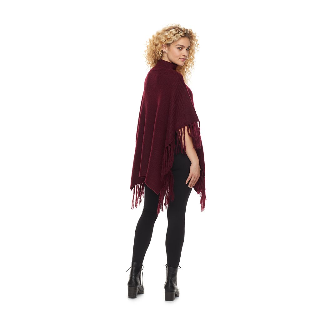 madden NYC Patches of Me Fringed Cable Knit Poncho