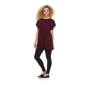 madden NYC Flat Knit Side Lace Up Poncho
