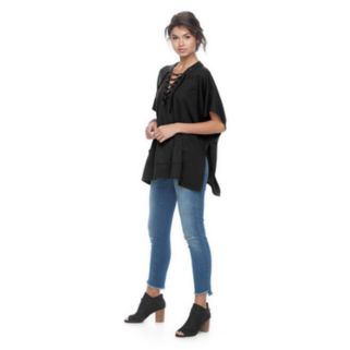 madden NYC Solid Jersey Lace-up Poncho