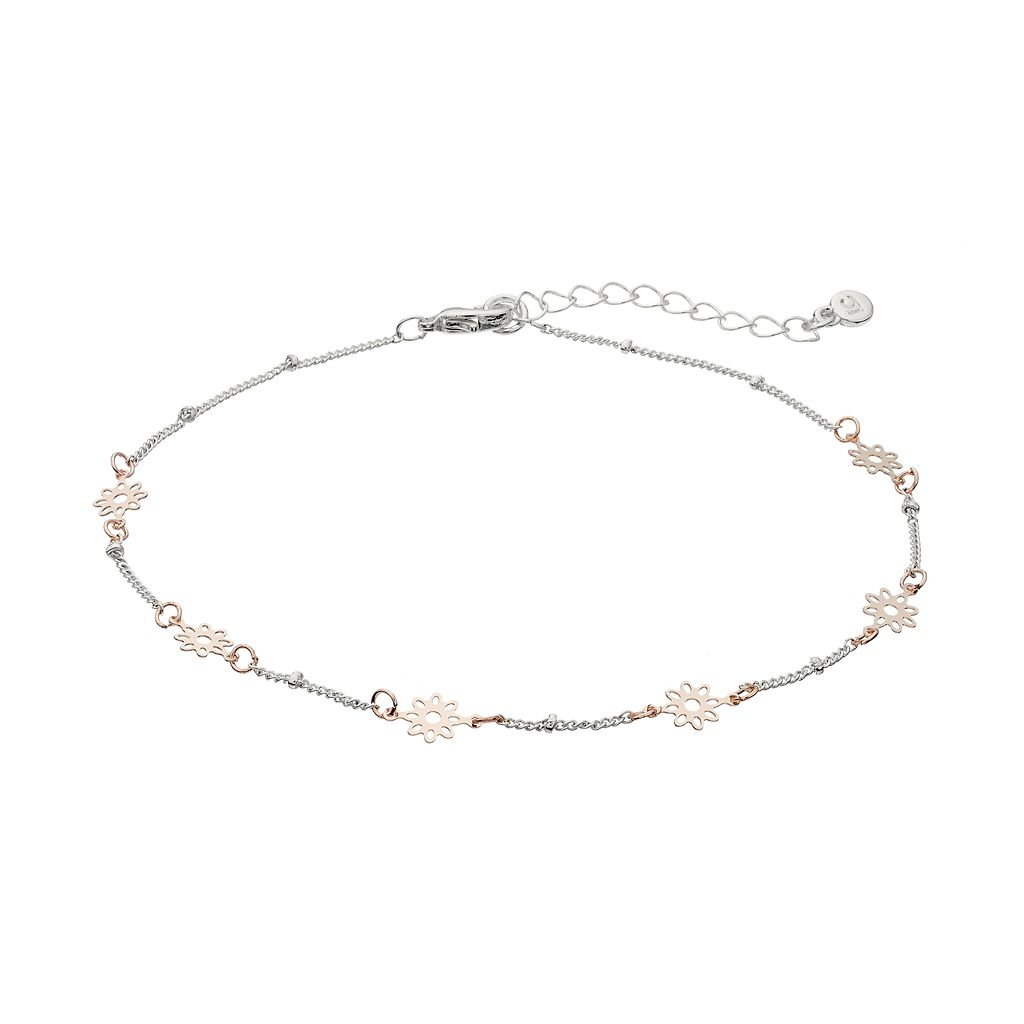 LC Lauren Conrad Two Tone Flower Station Anklet