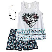 Girls 7-16 Self Esteem Crochet Lace Trim Tank Top & Flowy Shorts Set with Necklace