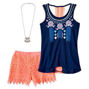 Girls 7-16 Crochet Back Tank Top & Crochet Shorts Set with Necklace