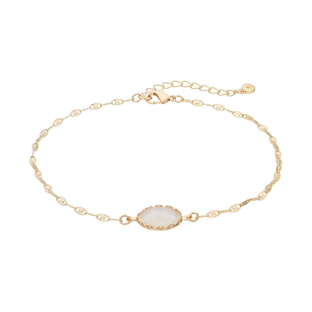 LC Lauren Conrad Oval Stone Anklet