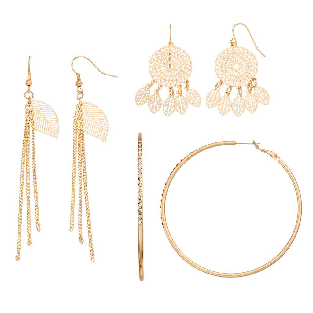 Dream Catcher, Leaf Fringe & Hoop Earring Set
