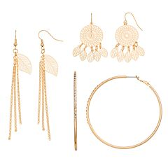 Dream Catcher, Leaf Fringe & Hoop Earring Set