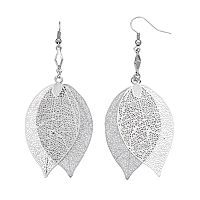 Filigree Leaf Double Drop Earrings