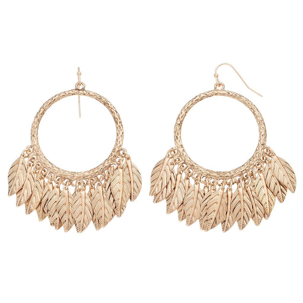 Shaky Feather Drop Hoop Earrings