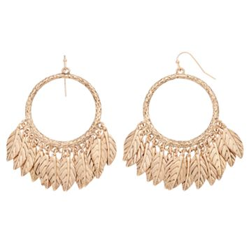 Shaky Feather Drop Hoop Earrings