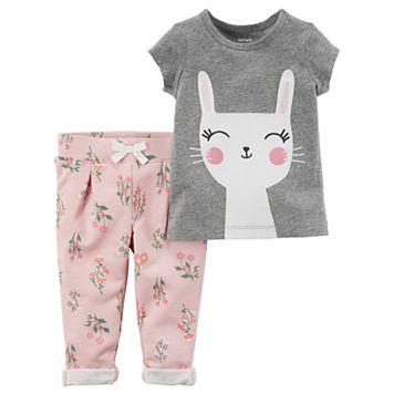 Baby Girl Carter's Bunny Tee & French Terry Pants Set