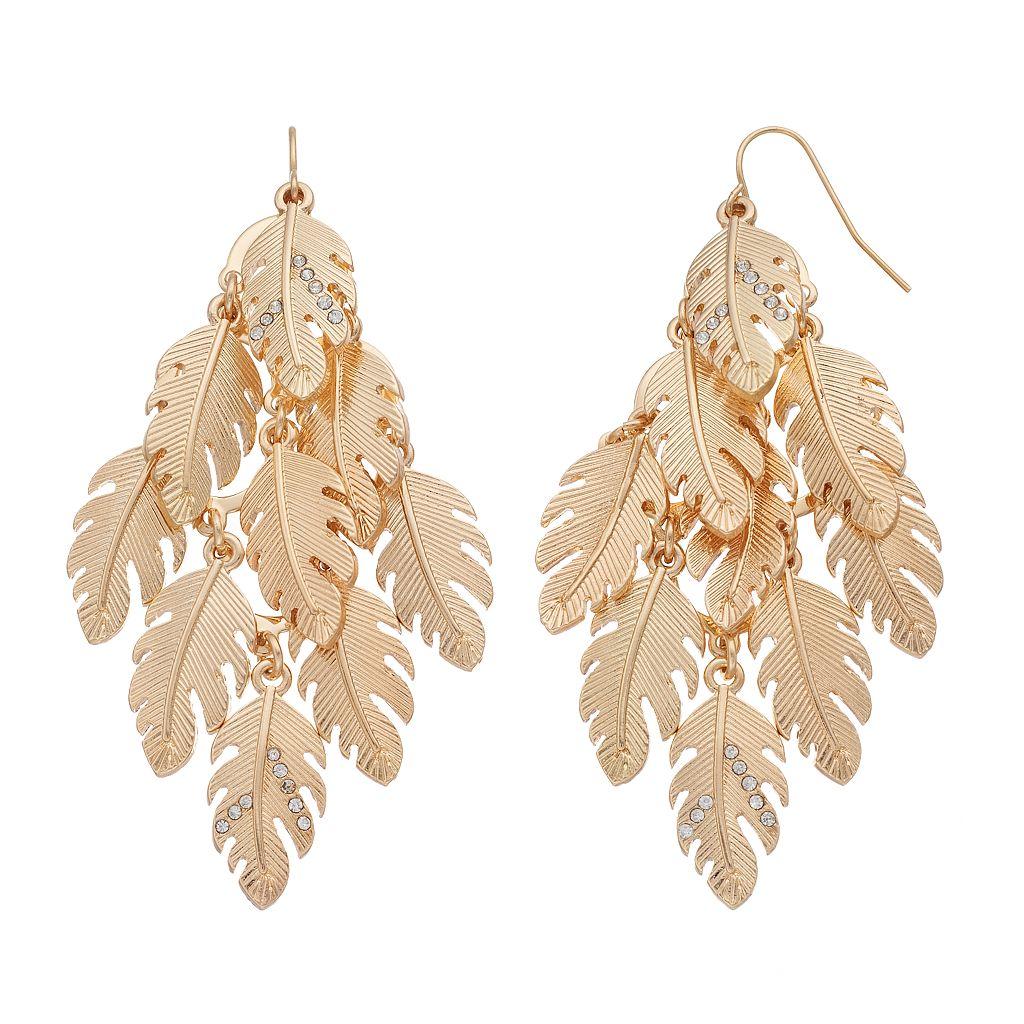 Textured Leaf Cluster Kite Earrings