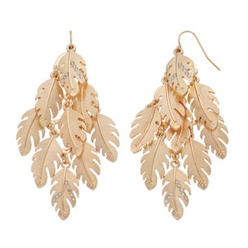 Textured Leaf Cluster Kite Earrings