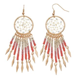Ombre Seed Bead Dream Catcher Drop Earrings