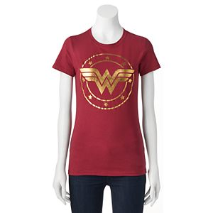 Juniors' DC Comics Wonder Woman Metallic Logo Graphic Tee!