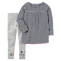 Baby Girl Carter's Long-Sleeved Striped Top & Leggings