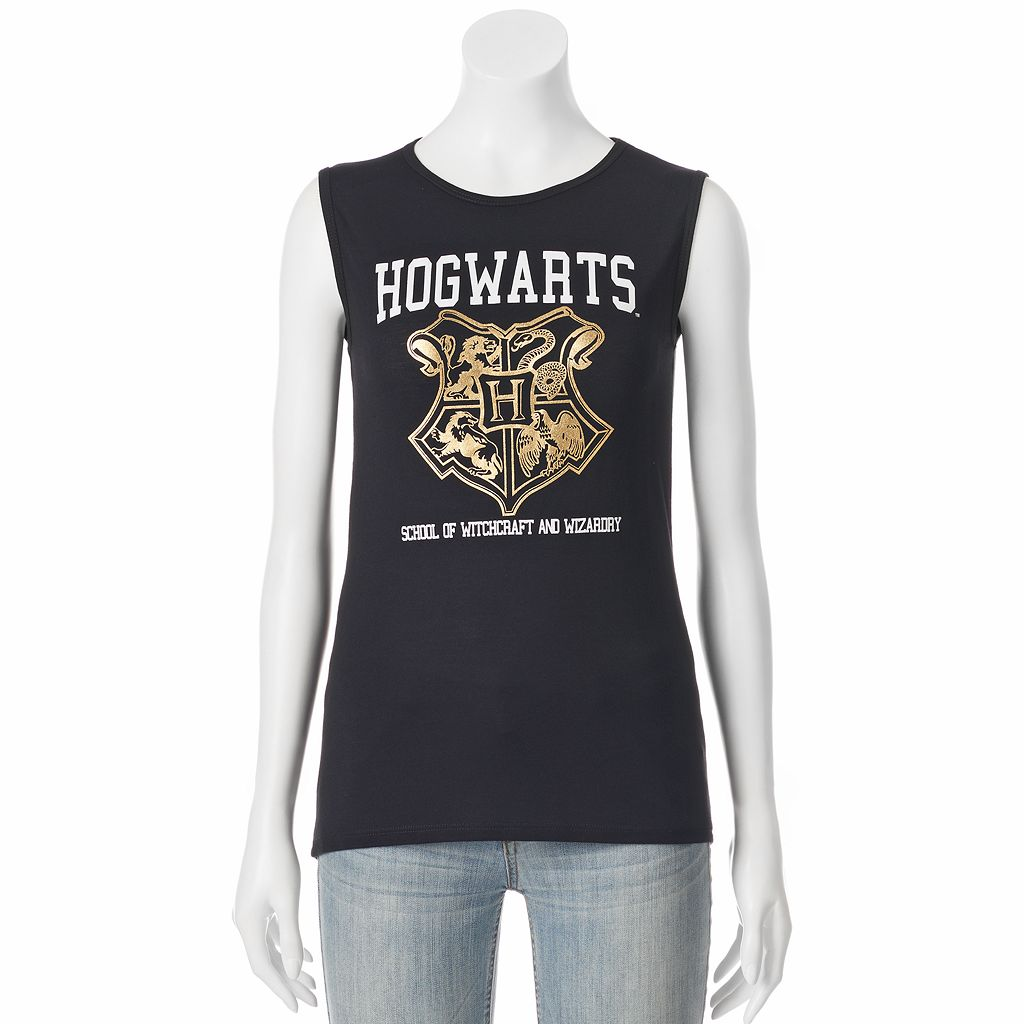 Juniors' Harry Potter Hogwarts Crest Muscle Graphic Tank