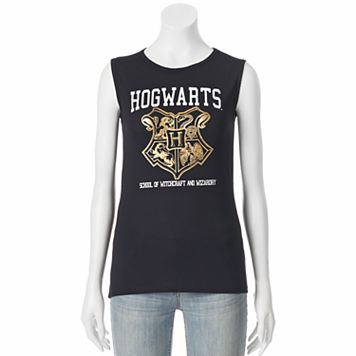 Juniors' Harry Potter Hogwarts Crest Muscle Graphic Tank