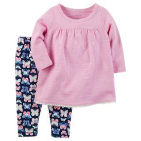 Baby Girl Carter's Long-Sleeved Tee & Butterfly Legging Set