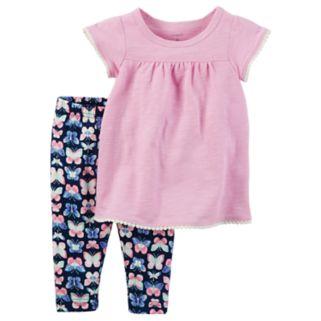 Baby Girl Carter's Flutter-Sleeved Tee & Butterfly Legging Set
