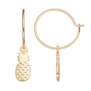 LC Lauren Conrad Pineapple Nickel Free Hoop Earrings