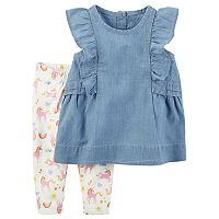 Baby Girl Carter's Chambray Tank & Unicorn Legging Set