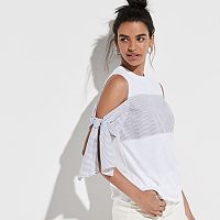 k/lab Tie Sleeve Cold-Shoulder Top