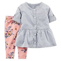 Baby Girl Carter's Striped Tunic & Floral Leggings Set