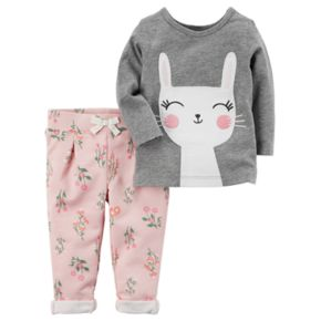 Baby Girl Carter's Long-Sleeved Bunny Tee & French Terry Pants Set