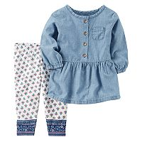 Baby Girl Carter's Chambray Top & Tile Leggings Set