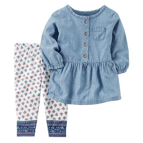 Baby Girl Carter's Chambray Top & Tile Leggings Set