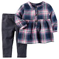 Baby Girl Carter's Plaid Flannel Top & Faux-Denim Leggings Set